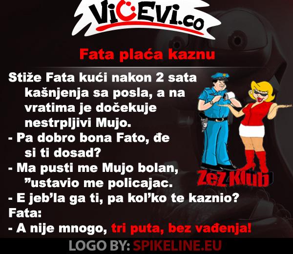 Fata plaćala kaznu @ Vicevi o Bosancima