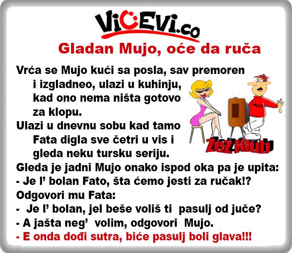 Gladan Mujo, oće da ruča @ vicevi o Bosancima, vicevi O Fati i Muji