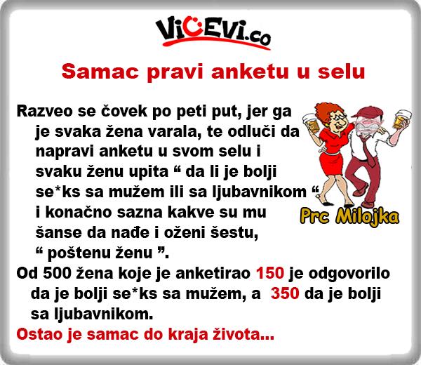 Samac pravi anketu u selu @ Vicevi o Mužu i Ženi