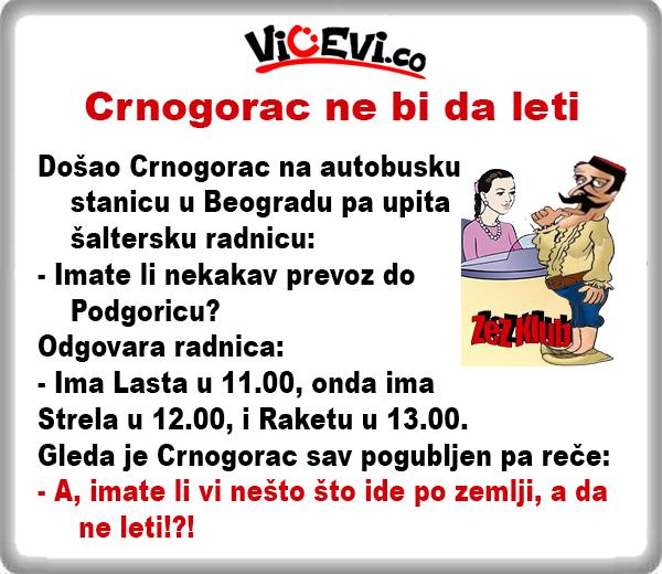 Crnogorac ne bi da leti @ Vicevi o Crnogorcima