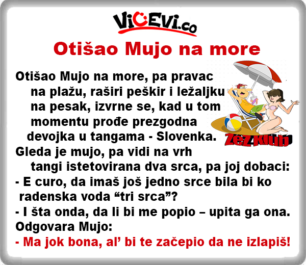 Otišao Mujo na more @ Vicevi o Slovencima, Vicewvi o Bosancima