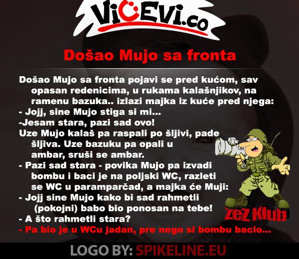 Došao Mujo sa fronta @ vicevi o Bosancima, vicevi o Muji i Fati