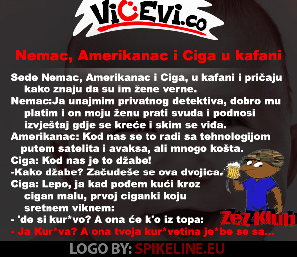 Nemac, Amerikanac i Ciga u kafani, vicevi o Cigi