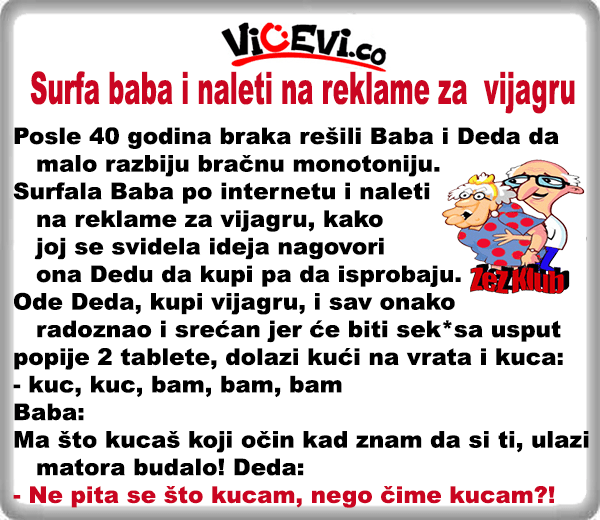 Surfa baba i naleti na reklame za vijagru 410 @ Vicevi o babi i dedi