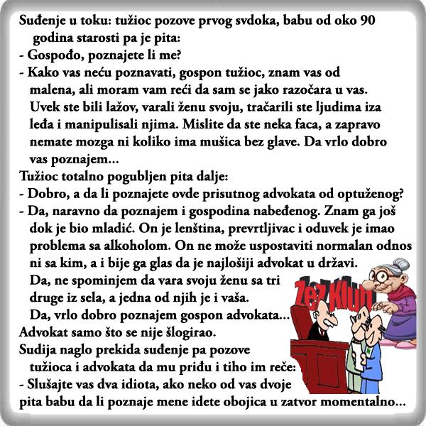 Vicevi o babi i dedi @ Suđenje u toku - Baba svedoči