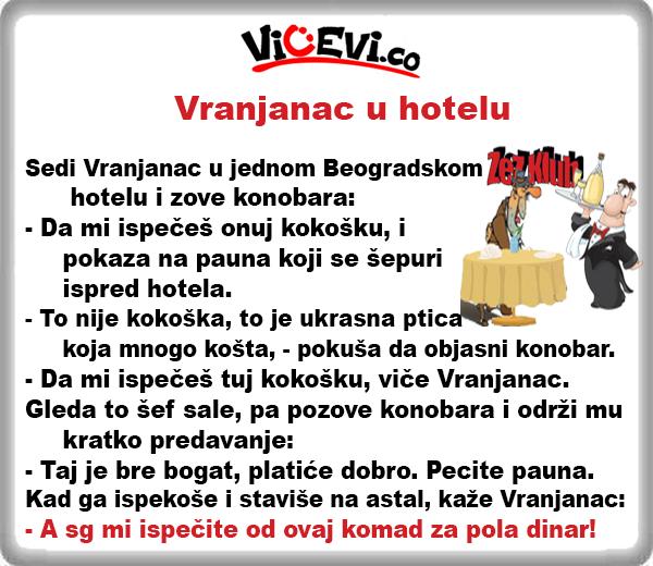Vranjanac u hotelu, vicevi o Vranjancima, Jug Srbije