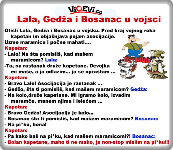 Lala, Gedža i Bosanac u vojsci @ vicevi o Gedžama, Bosancima, Vojvođanima
