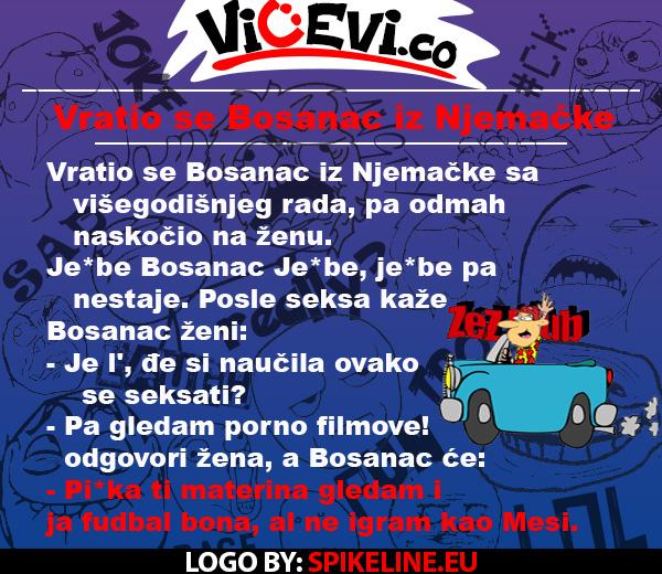Vratio se Bosanac iz Njemačke, 114  vicevi o Bosancima, vicevi o Muji i Fati