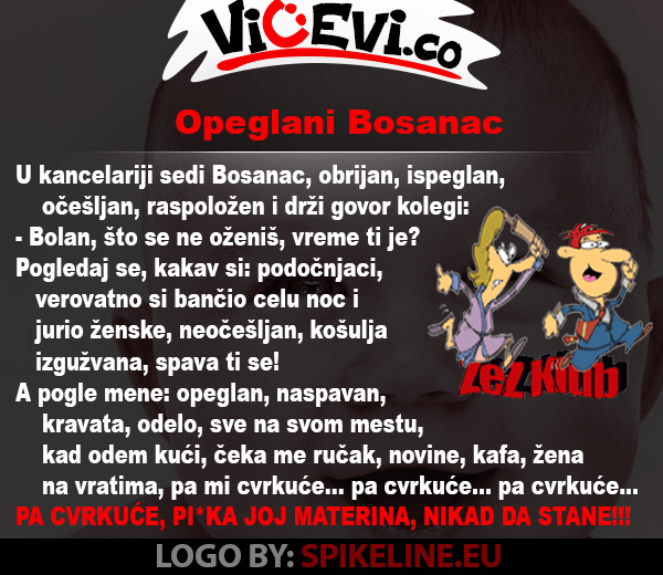 Opeglani Bosanac, vicevi o Bosancima