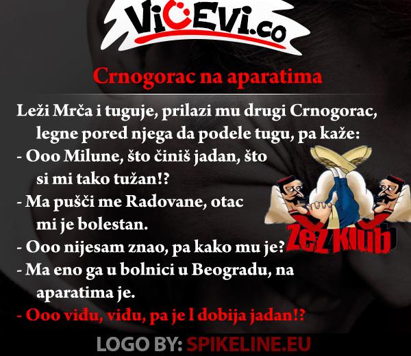 Crnogorac na aparatima, vicevi o Crnogorcima