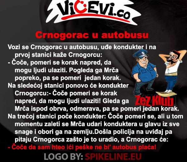 Crnogorac u autobusu @ vicevi o Crnogorcima