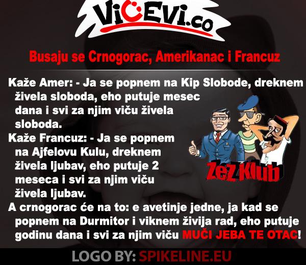 Busaju se Crnogorac, Amerikanac i Francuz, vicevi o Crnogorcima