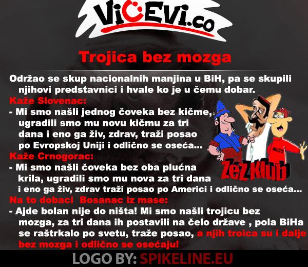 Trojica bez mozga, vicevi o Političarima, Bosancima, Crnogorcima, Slovencima