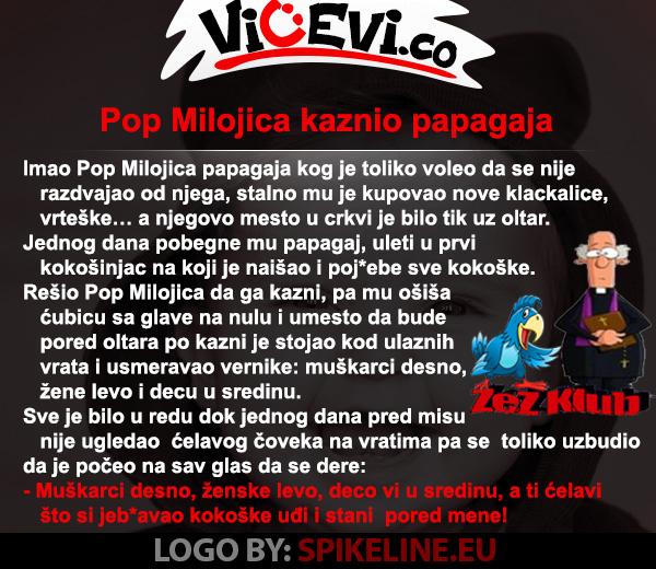 Pop Milojica kaznio papagaja, vicevi o popovima. životinjama