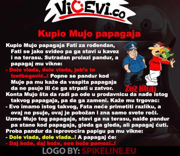 Kupio Mujo papagaja @ vicevi Bosanci, Policajci, Životinje