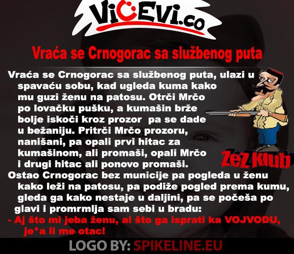 Vraća se Crnogorac sa službenog puta, vicevi o Crnogorcima