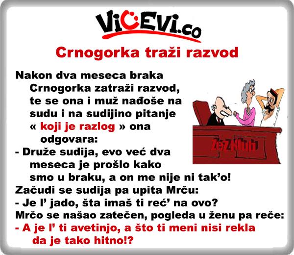 Crnogorka traži razvod 29 @ vicevi o Crnogorcima