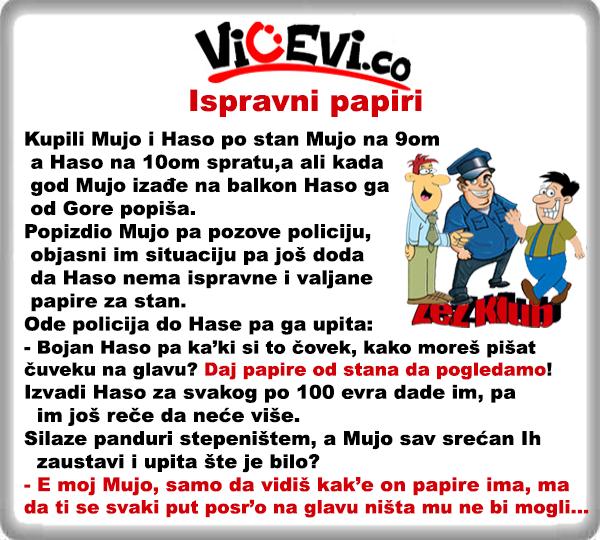 Ispravni papiri @ Vicevi o Bosancima