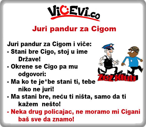 Juri pandur za Cigom i viče @ vicevi o Policajcima, vicevi o Cigi