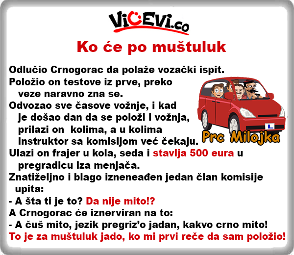 Ko će po muštuluk @ vicevi o Crnogorcima