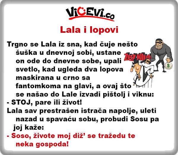 Lala i lopovi @ vicevi o Vojvođanima, vicevi o Sosi i Lali