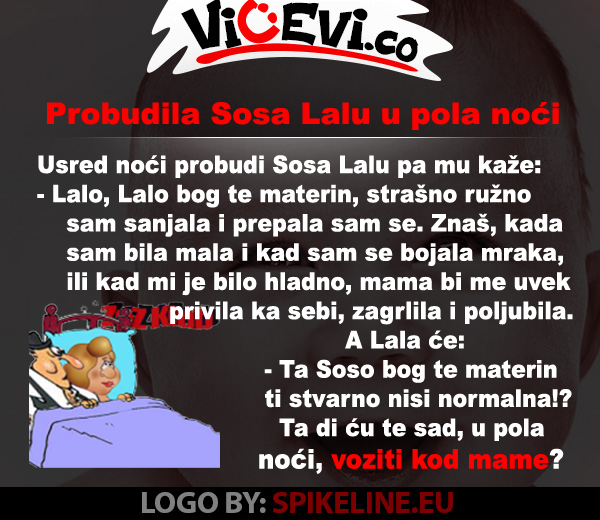 Probudila Sosa Lalu u pola noći, vicevi o Vojvođanima, vicevi o Sosi i Lali