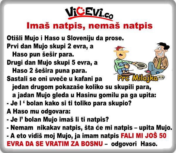 Imaš natpis, nemaš natpis @ vicevi o Bosancima, vicevi o Muji i Hasi, Slovenci
