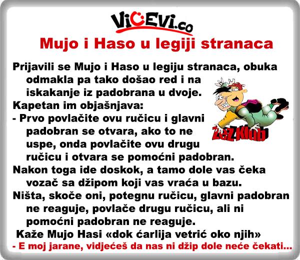 Mujo i Haso u legiji stranaca,  vicevi o Bosancima, vicevi o Muji i Hasi