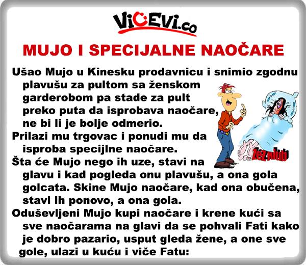 Mujo i specijalne naočare, vicevi o Bosancima, vicevi o Muji i Fati