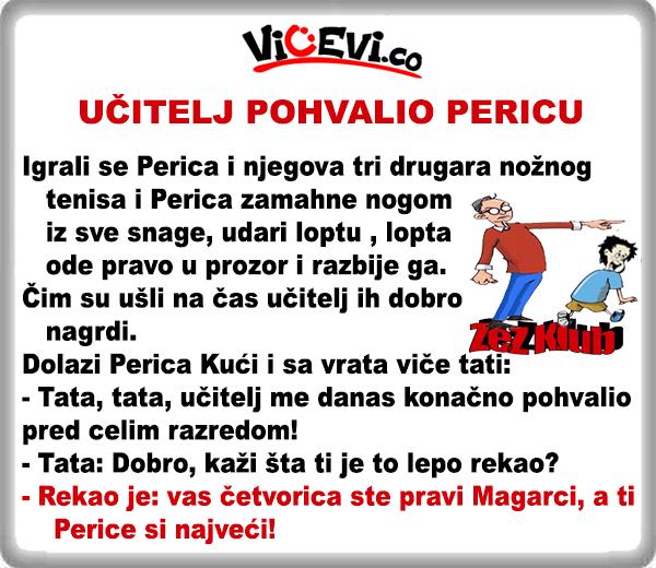 Učitelj konačno pohvalio Pericu @ Vicevi o Perici