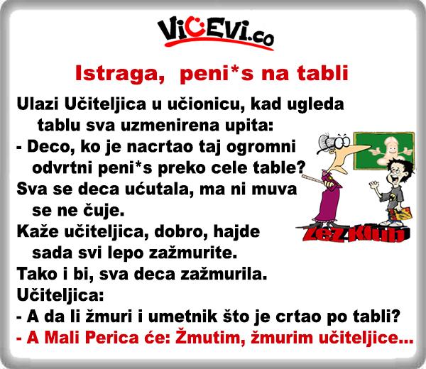 Istraga, peni*s na tabli @ Vicevi o Perici