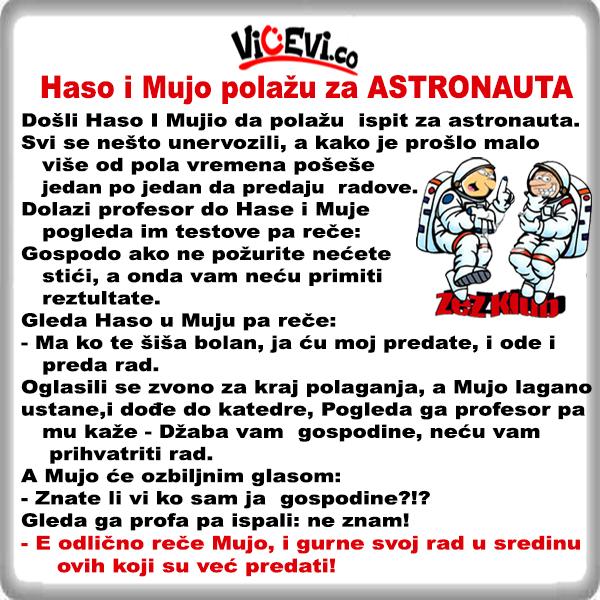 Haso i Mujo polažu za ASTRONAUTA @ vicevi o Bosancima