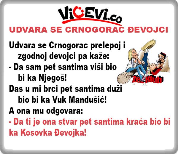UDVARA SE CRNOGORAC ĐEVOJCI 3 , vicevi o Crnogorcima