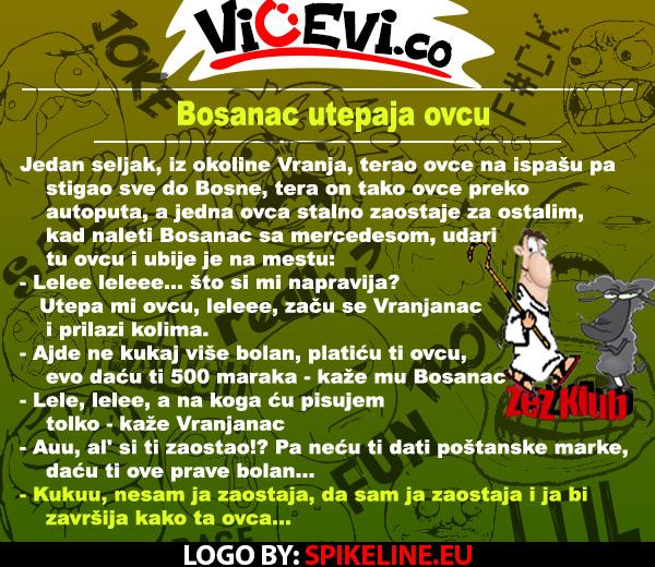 Bosanac utepaja ovcu @ Vicevi o Bosancima, Jug Srbije, Vicevi o Vranjancima