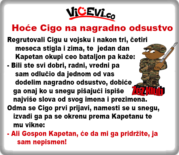 Hoće Cigo na nagradno odsustvo @ Vicevi o Cigi