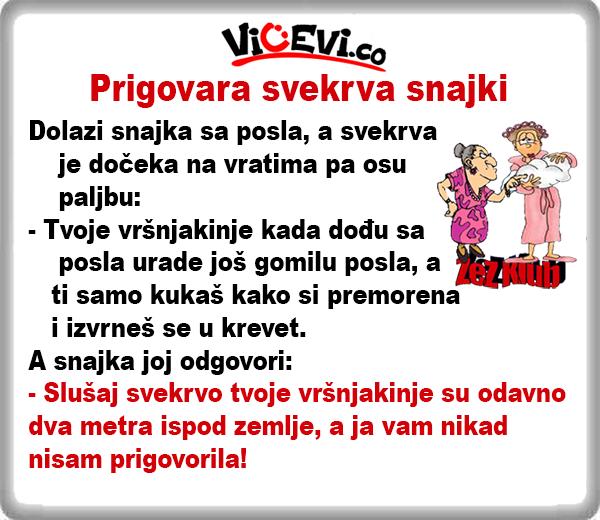Prigovara svekrva snajki @ Vicevi o Snajkama i Zetovima