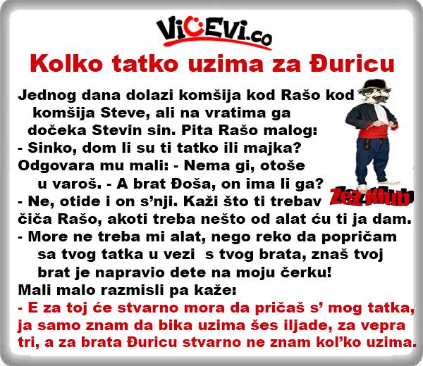Kolko tatko uzima za Đuricu @ Vicevi Jug Srbije, vicevi o Vranjancima