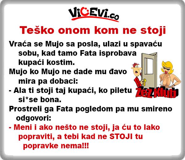 Teško onom kom ne stoji @ Vicevi o Bosancima, Vicevi o mužu i ženi