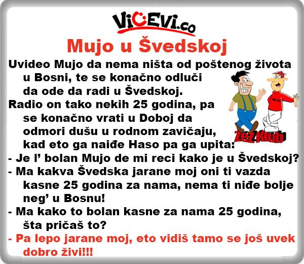 Mujo u Švedskoj @ Vicevi o Bosancima, Vicevi o Gastarbajterima